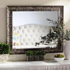 Black Mosaic Framed Mirror, 28x34   Kirklands $30 On wall above each nightstand