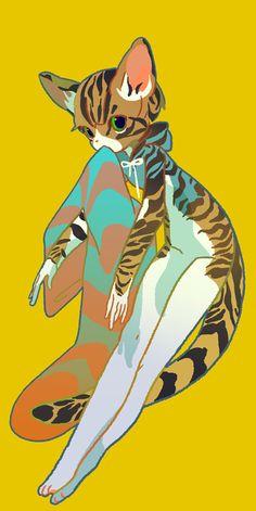 『星海社竹画廊』 | 最前線 Cool Drawings, Drawing Sketches, Character Art, Character Design, Funky Art, Anime Cat, 2d Art, Cute Creatures, Creature Design