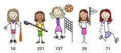 FemaleBody22 Easy Doodles Drawings, Simple Doodles, Stick Figure Drawing, Figure Drawings, Stick Figure Family, Sports Wall, Bullet Journal Art, Stick Figures, People Art