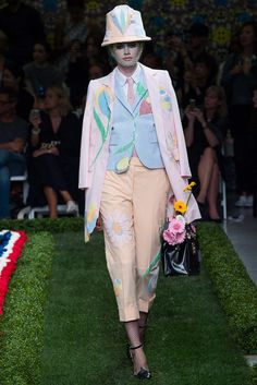 Much work must have gone into this outfit...Mini Seersucker-Suits shape of Bucket Hat!    Spring 2015 Ready-to-Wear