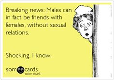 Breaking news: Males can in fact be friends with females, without sexual relations. Shocking, I know.