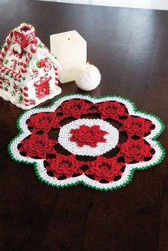 Winter Rose Doily in