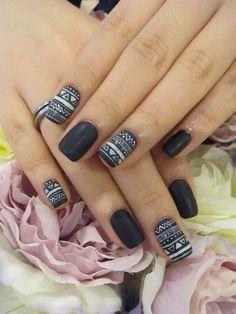25 Black and White Nail Art Ideas. Check this collection of black and white nail art ideas. Gorgeous Nails, Love Nails, Pretty Nails, Black And White Nail Art, White Nails, Black White, Matte Black, Black Nails, Uñas Fashion