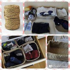 Organizadores de ropa echos con cuerda