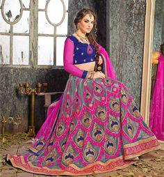 Gray Net Jacquard Wedding Lehenga Choli 61219