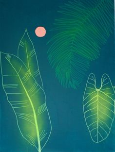 """Tropical I"" Kaja Weum Acrylic and spray on canvas 120cm * 90cm"