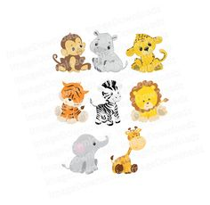 Cute Baby Safari Animals // Jungle // Monkey // by ImageDownloadz