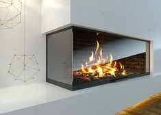 Modern glass corner fireplace in the interior - Buy this stock illustration and explore similar illustrations at Adobe Stock Modern Fireplace, Fireplace Ideas, Chinese Interior, Pooja Rooms, Grey Wood, Living Room, Interior Design, Cool Stuff, Architecture
