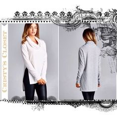 "Large Cowl Neck Sweater Tunic - Ivory ⭐Cowl neck sweater tunic. Slightly boxy fit. Hi-low hem. High side slits. Brushed knit fabric that has a very soft, fuzzy texture. Ivory.  ⭐️67% Polyester 29% Rayon 4% Spandex ⭐️Made in USA  ⭐️Length laying flat (Shoulder to hem) ➖Front: 28"" ➖Back: 32"" ⭐️Bust laying flat: 21"" Sweaters Cowl & Turtlenecks"