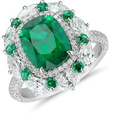 Blue Nile Emerald and Diamond Cocktail Ring (46 485 AUD) ❤ liked on Polyvore featuring jewelry, rings, diamond cocktail rings, 18k ring, marquise cut diamond ring, diamond band ring and band rings