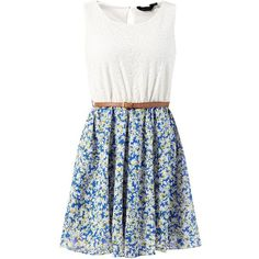 Blue 2 in 1 Lace Contast Floral Print Belted Skater Dress ($17) ❤ liked on Polyvore featuring dresses, blue, vestidos, blue lace dress, lace skater dress, sleeveless dress, lace dress and blue skater dress