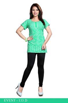 Green American Crepe Printed Short Kurti - Crepe Kurtis / Tunics Manufacturer & Exporter | Kurtisindia