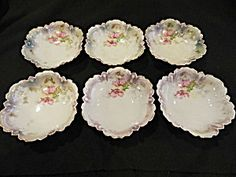 R S Prussia Red Wreath Candy Dishes