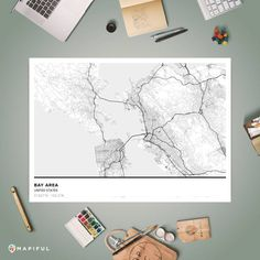 A map poster from Mapiful.com. A creative DIY tool to make your own map poster. This is 'Bay Area'