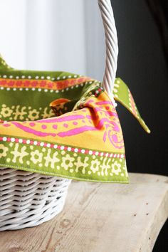 Basket Liner  Green and Yellow WIth Orange  by toocutecustomcrafts, $8.00