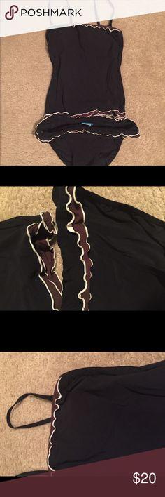 Profile Swimwear Profile Swimwear. Bikini bottom and top. Detachable straps. Black swimsuit with brown and black ruffle bottom on top and bottom waistband. Excellent Condition. Profile brand is by Gortex. Profile by Gortex Swim Bikinis