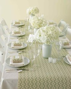 Here's a quick and inexpensive way to add style to your reception space: Use gift-wrap runners. Trim paper to any width; it should hang 18 inches over table ends.   It says to cover tops of favor boxes with the same paper, but making a simple belly band would be much faster