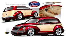 """Ziggys Design Driven proudly presents the """"Retro Rocket"""", Art deco inspired custom Tudor, with a roof chop,custom made glass and custom made body panels and mouldings using influences of Tudor. Pt Cruiser Accessories, Best Cars For Teens, Chrysler Crossfire, Dodge Nitro, Retro Rocket, Car Man Cave, Woody Wagon, Chrysler Pt Cruiser, Car Mods"""