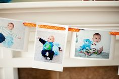 cutest photo garland ever, and so easy - ribbon and a hole punch, done.