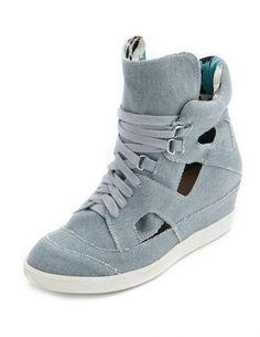 Cutout Chambray Wedge Sneaker