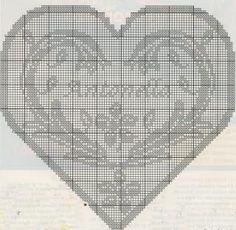 Schemi filet: Un cuore con il suo nome