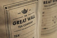 The Great Wall Tea Company Branding by arithmetic creative - Vancouver