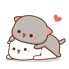 蜜桃猫 Cute Cartoon Pictures, Cute Love Pictures, Cute Love Memes, Cute Love Gif, Cute Love Cartoons, Cute Cat Gif, Cute Images, Cute Cats, Chibi Cat