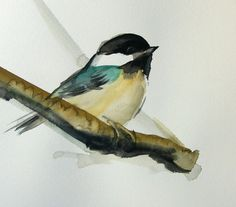 Bird+painting+Chickadee+original+watercolor+by+VerbruggeWatercolor
