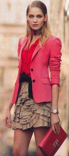 Pink blazer, red blouse