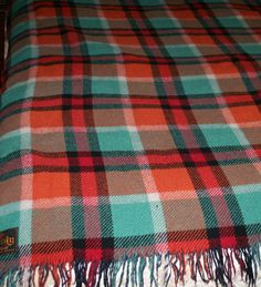 "Antique Fringed Check Wool Blanket Picnic Rug Size 47""X 67"" Made in Britain Listing in the Duvets, Blankets & Pillows,Bedroom,Home & Garden Category on eBid United Kingdom"