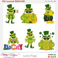 Lucky Irish Frogs Layered Element Templates cudigitals.com clipart template cu commercial scrap scrapbook digital graphics #cu #scrapbooking #photoshop #digiscrap