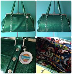 Emerald green glitter kisslock purse with monster lining by Disgraceland.