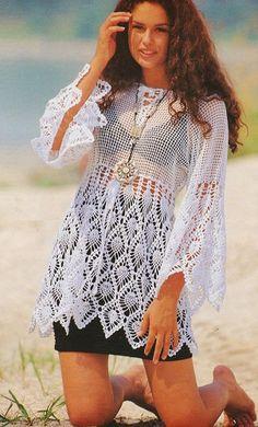 Pulovr s ananasovým vzorem – Háčkujem – návody a vzory Crochet Bikini, Knit Crochet, Crochet Summer Dresses, Crochet Cardigan, Vintage Crochet, Party Wear, My Girl, Crochet Patterns, Style Inspiration