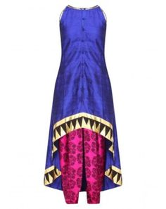 Blue Incut Kurta and Tree Print Dhoti Pants Set
