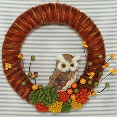 Owl Wreath, Fall Wreath, Yarn Wreath, Yarn Owl Wreath, Harvest Wreath, Felt…