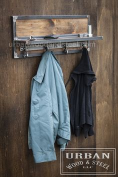 Wooster Wall Shelf & Chain Hook Coat Rack Organize your entryway with this reclaimed wood shelf, ban Welded Furniture, Steel Furniture, Industrial Furniture, Cool Furniture, Furniture Design, Luxury Furniture, Industrial Lamps, Pipe Furniture, Furniture Vintage