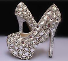 Custom Bling New Style Crystal Wedding Shoes,Sparkle White Glass Bridal Heels on Etsy, $259.00