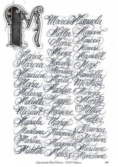 Chicano Tattoos Lettering, Tattoo Lettering Styles, Graffiti Lettering Fonts, Hand Lettering Alphabet, Script Lettering, Lettering Design, Calligraphy Tattoo Fonts, Calligraphy Words, Tattoo Script