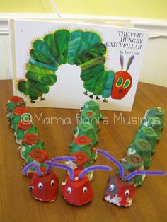 "Eric Carle ""Very Hungry Caterpillar"" Craft using egg cartons. Toddler Crafts, Preschool Crafts, Crafts For Kids, Eric Carle, Hungry Caterpillar Craft, Egg Carton Caterpillar, Book Crafts, Spring Crafts, Activities For Kids"