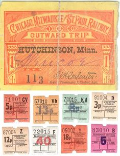 These were my husband and I's train tickets. We bought enough so a few of our friends could accompany us at the exposition. Ticket To Ride, Bus Tickets, Train Tickets, Train Car, Train Travel, Vintage Tags, Vintage Ephemera, Vintage Paper, Dinosaur Train