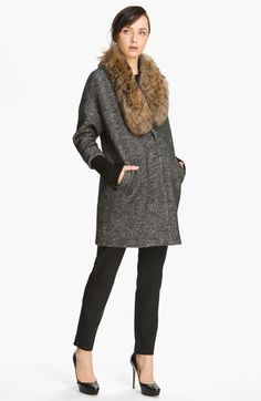 Elizabeth and James 'Valentia' Herringbone Coat with Removable Fur Collar available at #Nordstrom