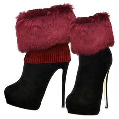 Cozy Burgundy Faux Fur Trim Knitted Leg Warmer Boot Cuffs | gingasgalleria - Accessories on ArtFire