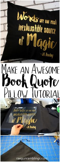 quick and easy DIY Harry Potter Quote pillow case sewing tutorial