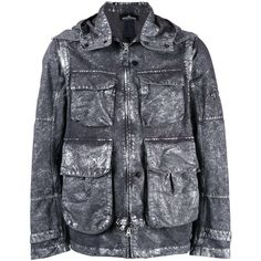 Stone Island Shadow Project metallic effect hooded jacket (€1.315) ❤ liked on Polyvore featuring men's fashion, men's clothing, men's outerwear, men's jackets, grey, mens hooded jackets, mens grey jacket, mens metallic jacket and mens gray leather jacket
