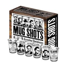 American Gangsters Mug Shots Shot Glasses 6-Pack - Unemployed Philosophers Guild - Historical Figures - Barware at Entertainment Earth