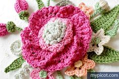 Crochet Flower Bouquet Diagram + step by step - instructions - Free Pattern