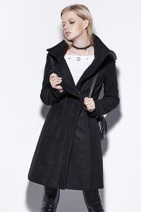Mantel mit Stehkragen und Nieten Epauletten