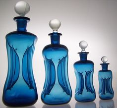 Danish Kuttrolf (Kluk Kluk) Blue Decanter Set - Detailed image of Not for sale - damaged in Christchurch earthquake :-(
