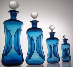 Danish Kuttrolf (Kluk Kluk) Blue Decanter Set - Detailed image of Not for sale - damaged in Christchurch earthquake :-(