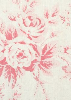 Cabane Rose, Rouge on White, Brocante Fabrics